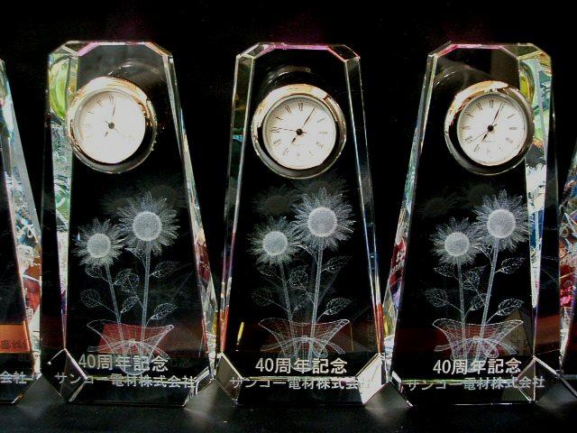 クリスタル時計の周年記念品